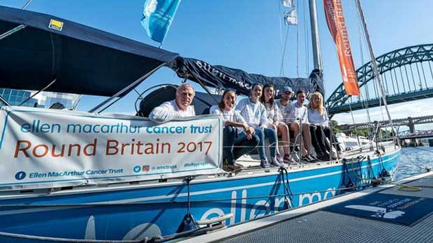 The crew of leg 7 of Round Britain 2017 prior to departing Newcastle Ellen MacArthur Cancer Trust