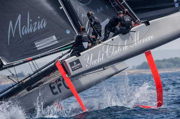 Pierre Casiraghi's Malizia - Yacht Club de Monaco flying high – 36 Copa del Rey MAPFRE © Jesus Renedo / GC32 Racing Tour