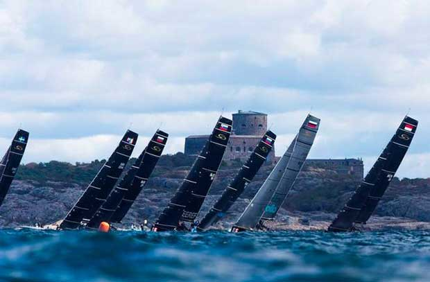 The fleet battles through a choppy seaway in Marstrand – RC44 Marstrand World Championship © Pedro Martinez / Martinez Studio / RC44