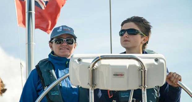 Emily on the helm with Skipper Catch © Ellen MacArthur Cancer Trust