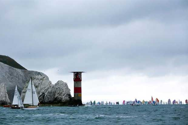 The 2017 Round the Island Race in association with Cloudy Bay fleet round the iconic Needles on the Isle of Wight. © Island Sailing Club