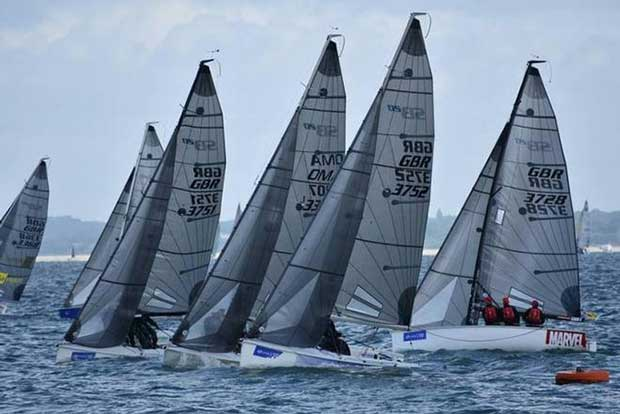 The SB20 fleet in close action on Day 3 – SB20 Cowes Grand Slam Jane Austin