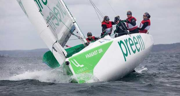 Monday's training at Lysekil Women's Match was challenging ias the teams tested the new Fareast 28r in big breeze. Dan Ljungsvik / LWM