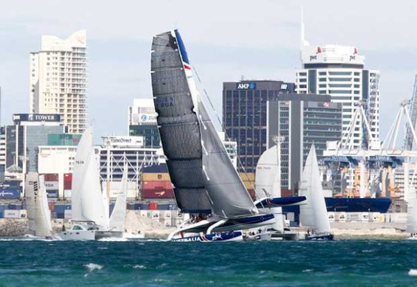 Sean Langman's Team Australia on the Coastal startline in 2013. Team Australia is the only multihull to beat Frank Racing in the Coastal Classic since 2010. © PIC Coastal Classic http:www.coastalclassic.co.nz