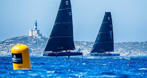 Full foiling conditions at the GC32 Villasimius Cup 2017 - photo © Jesus Renedo / GC32 Racing Tour