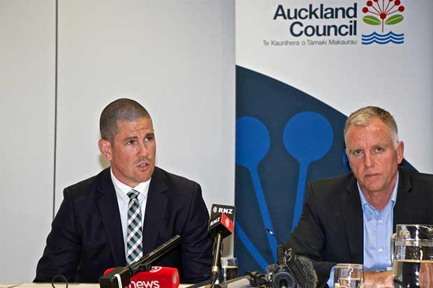 ATEED's Steve Armitage and Panuku Developments Rod Marler face the media outlining the America's Cup base options © Richard Gladwell www.photosport.co.nz