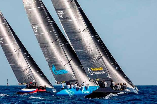 The RC44 fleet had two days of good racing before the wind disappeared – RC44 Calero Marinas Cup © Martinez Studio / RC44 Class