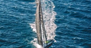IMOCA60 Hugo Boss foiling high off Lisbon Portugal. Alex Thomson Racing