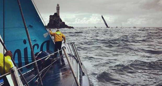 An onboard shot shows Volvo 70 Monster Project coming up to the iconic Fastnet Rock in the Rolex Fastnet Race this year © Monster Project