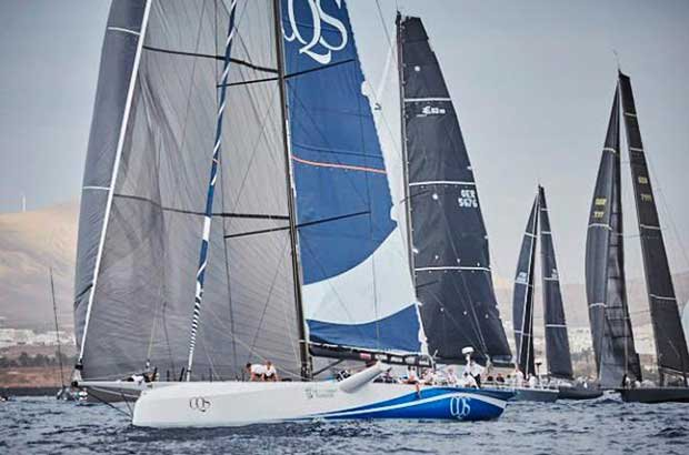 Ludde Ingvall's Australian Maxi CQS leads the fleet at the start of the 4th RORC Transatlantic Race; the first leg of the Atlantic Anniversary Regatta © James Mitchell / RORC
