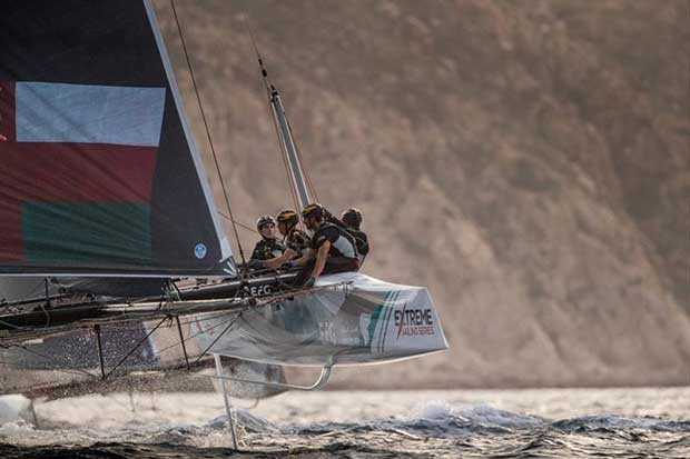 The Extreme Sailing Series 2017. Act 8. Los Cabos Mexico, Cabo San Lucas Resort.The 'Oman Air' race team shown in action close to the shore, skippered by Phill Robertson (NZL) with team mates Pete Greenhalgh (GBR), Ed Smyth (NZL/AUS), James Wierzbowski - photo © Lloyd Images