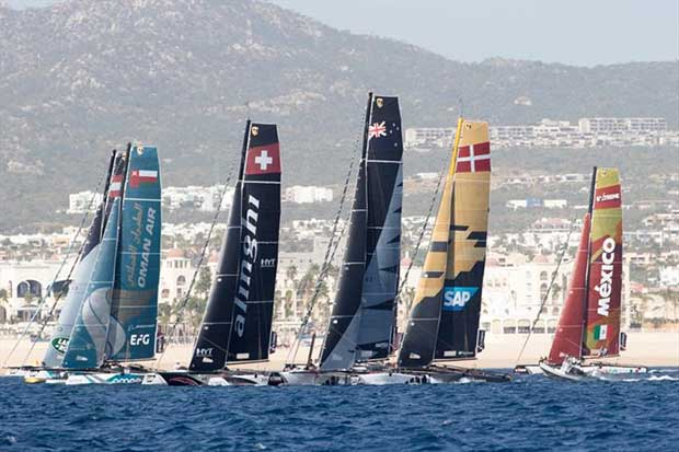 The eight-strong fleet of GC32 catamarans line up for a start during a race on the opening day in Los Cabos. - photo © Lloyd Images Standings after Day 1: (6 races)