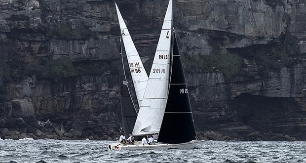 Powderhulk and Let Loose tack their way towards North Head - photo © Margaret Fraser-Martin