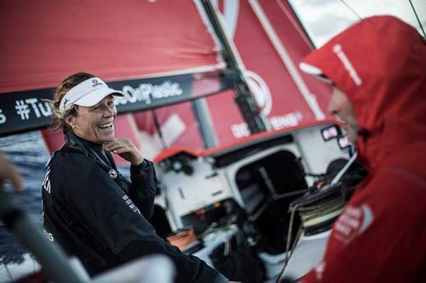 Volvo Ocean Race Leg 4, Melbourne to Hong Kong, day 05 on board Dongfeng. The beautiful Carolijn Brouwer smiling, good vibes today onboard dongfeng. - photo © Martin Keruzore / Volvo Ocean Race