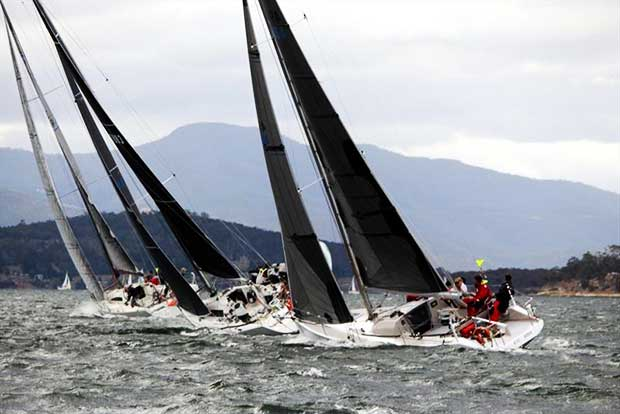 Racing division boats beating to windward in a strong nor'wester on the River Derwent - 2018 Crown Series Bellerive Regatta - photo © Peter Watson