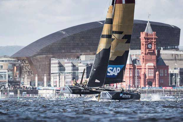 Extreme Sailing Series Act 3, Cardiff 2016 - Day Two - SAP Extreme Sailing Team - photo © Lloyd Images