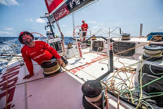 Volvo Ocean Race Leg 6 to Auckland, day 15 on board MAPFRE, Xabi Fernandez stearing and Pablo Arrarte trimming, drone shot during a close batle with Dongfeng . 21 February - photo © Ugo Fonolla / Volvo Ocean Race