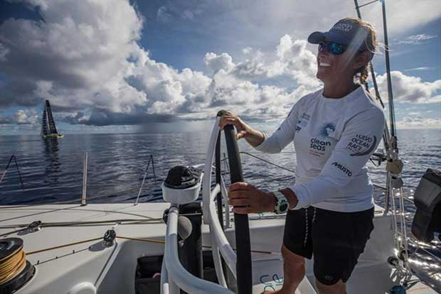 Volvo Ocean Race Leg 6 to Auckland, day 14 on board Turn the Tide on Plastic. Catching up to Brunel puts a smile on Skipper Dee's face. 20 February © James Blake / Volvo Ocean Race