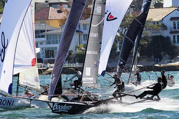 Action as the fleet prepare for the spinnaker drop at the bottom mark during the 18ft Skiff Queen of the Harbour - photo © Frank Quealey