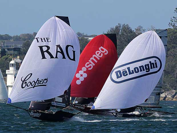 Racing action was close to the very end in 18ft Skiff JJ Giltinan Championship Race 1 © Frank Quealey