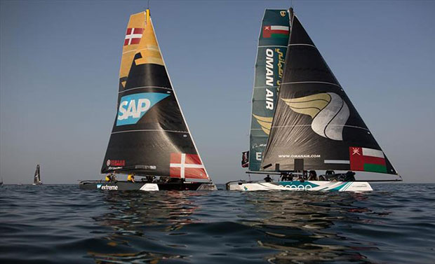 SAP Extreme Sailing Team and Oman Air - 2018 Extreme Sailing Series™ Act 1, Muscat - Day 1 - photo © Extreme Sailing Series