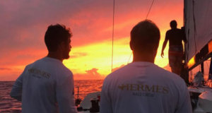 Magnificent sunset in the 2017 race from on board Pogo 12.50 Hermes © Hermes / Ocean Racers