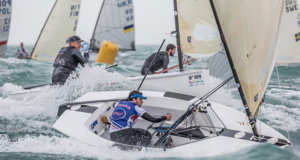 It got a bit hectic at times - Guillaume Boisard and Piotr Kula on day 3 of the Finn Europeans in Cádiz, Spain - photo © Robert Deaves