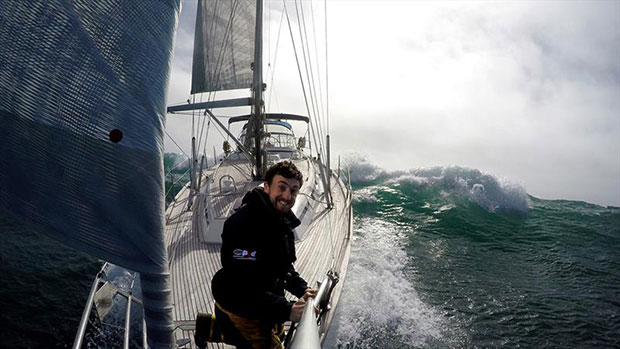 Irish skipper Gregor McGuckin enjoying some heavy weather downwind sailing in big seas during a delivery voyage - photo © Gregor McGuckin / GGR / PPL