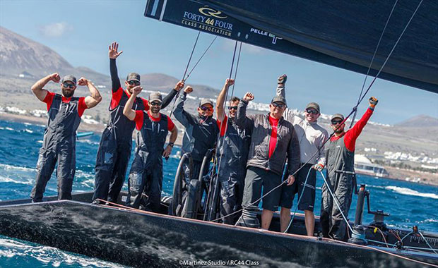 Nico Poons and his victorious Charisma crew - 2018 RC44 Calero Marinas Cup - photo © www.MartinezStudio.es