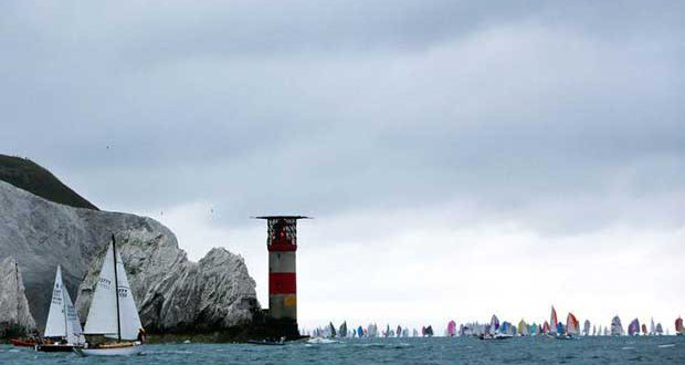 The 2017 Round the Island Race in association with Cloudy Bay fleet round the iconic Needles on the Isle of Wight. The 2018 Race will take place on July 7th. Entries are now open. © Island Sailing Club