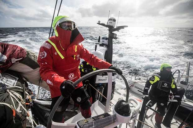 Leg 7 from Auckland to Itajai, day 07 on board Dongfeng. Jeremie eyou helming in a cold weather. - photo © Martin Keruzore / Volvo Ocean Race