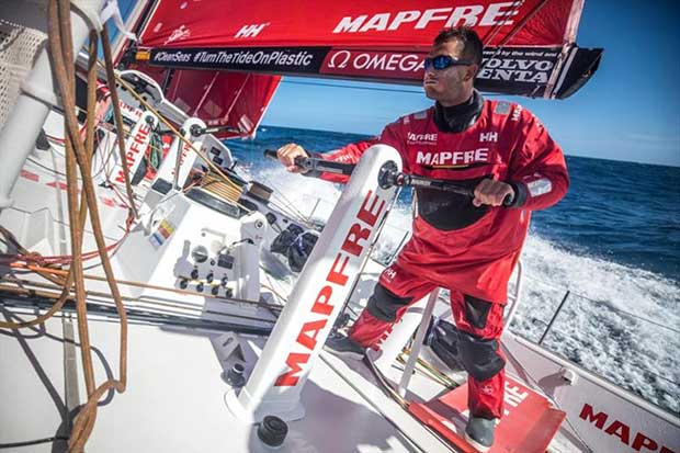 Volvo Ocean Race Leg 7 from Auckland to Itajai, day 03 on board MAPFRE, Blair Tuke trimming the main sail. - photo © Ugo Fonolla / Volvo Ocean Race