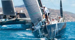 Action stations: HH66 Nala racing in the Offshore Multihull class and J121 Apollo in CSA Racing 1 - 2018 BVI Spring Regatta © Alastair Abrehart