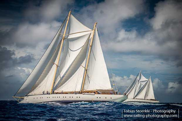 157' staysail ketch Chronos racing her sister-ship 158' Rhea - Antigua Classic Yacht Regatta 2018 © Tobias Stoerkle www.blende64.com