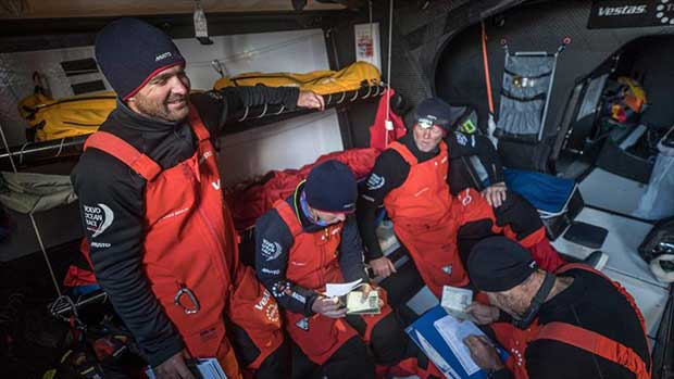Leg 7 from Auckland to Itajai, day 15 on board Vestas 11th Hour. 31 March, . Checking into the United Kingdom, Falkland Islands. - photo © Jeremie Lecaudey / Volvo Ocean Race