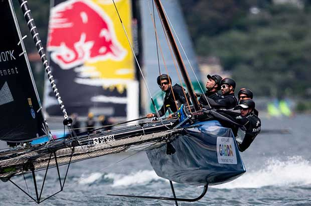 Jérôme Clerc and the Realteam cre on day 1 of the GC32 World Championship at Garda © Pedro Martinez / GC32