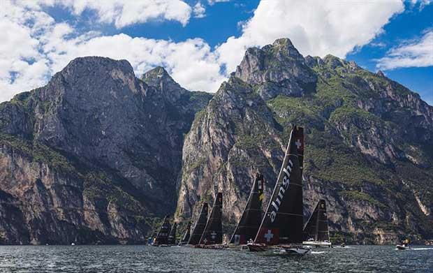 Alinghi leads away from the start line on day 1 of the GC32 World Championship at Garda - photo © Pedro Martinez / GC32