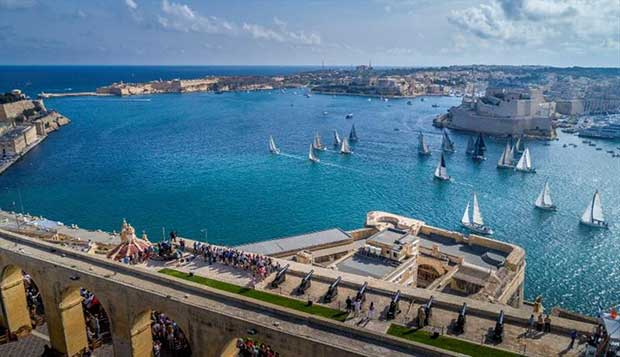Malta's iconic Grand Harbour welcoming the start of the Rolex Middle Sea Race © Kurt Arrigo / Rolex
