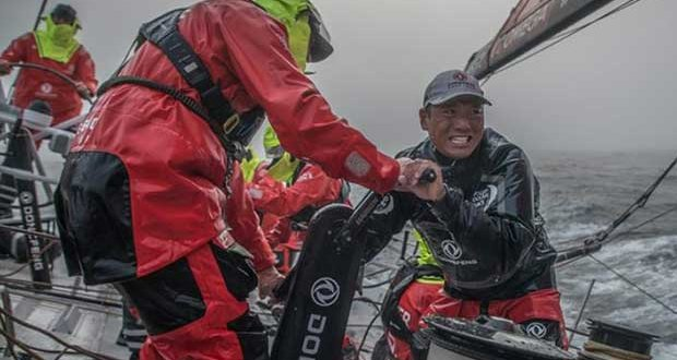 Volvo Ocean Race Leg 9, from Newport to Cardiff, day 01, on board Dongfeng. Horace grinding hard a few hours after the start. © Jeremie Lecaudey / Volvo Ocean Race