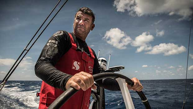 Volvo Ocean Race Leg 9 Newport to Cardiff Day 4 on board Sun Hung Kai / Scallywag. David Witt helming. - photo © Rich Edwards / Volvo Ocean Race