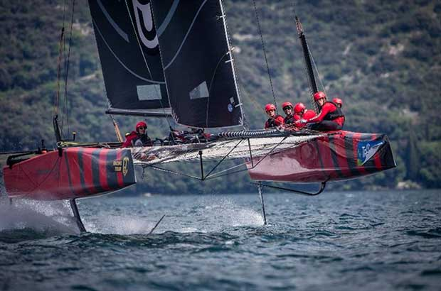 Federico Ferioli's Código Rojo Racing competing at last year's GC32 Riva Cup © Jesus Renedo / GC 32 Racing Tour