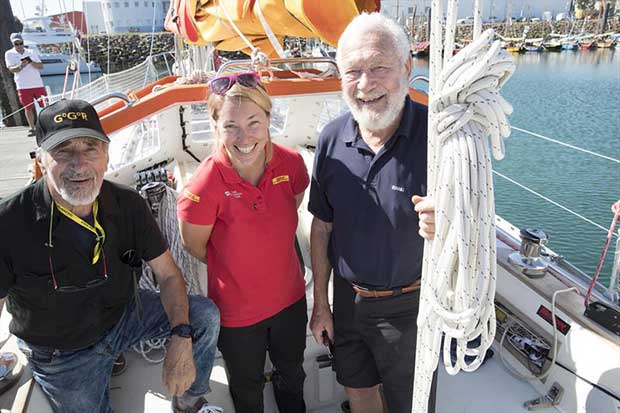 (l-r) Alex Carozzo (ITA) Susie Goodall and Sir Robin Knox-Johnston at the start of the 2018 Golden Globe Race - photo © Tim Bishop