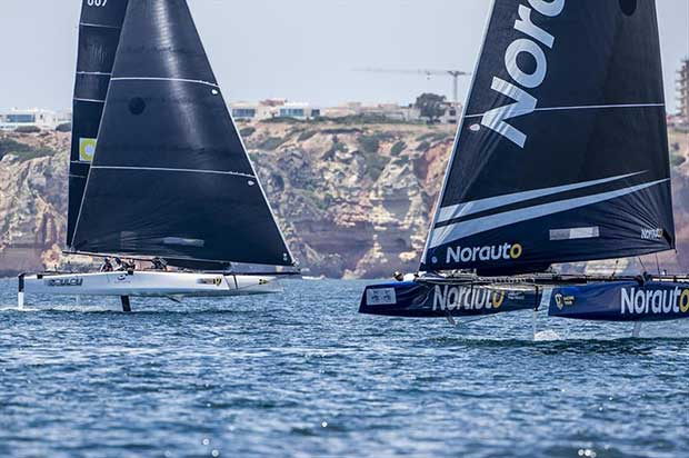 Franck Cammas' NORAUTO powered by Team France ahead of French rivals Zoulou, helmed today by owner Erik Maris - GC32 Lagos Cup 2018 © Jesus Renedo / GC32 Racing Tour