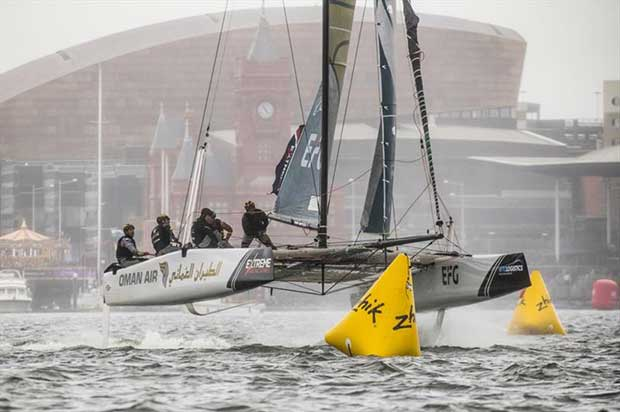 Extreme Sailing Series™ Cardiff 2018 - The 'Oman Air' race team shown in action close to the shore, skippered by Phill Robertson (NZL) - photo © Vincent Curutchet / Lloyd Images
