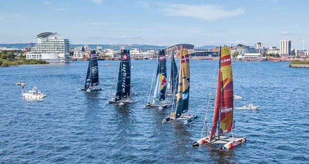 Six GC32 catamarans pre-start, before the foiling kicks off on the waters of Cardiff Harbour in Extreme Sailing Series 2017 © Shaun Roster