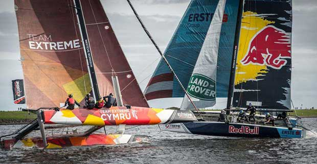 Team Extreme Wales battling it out with top teams in the Extreme Sailing Series™ Cardiff Act 2017 - photo © Owen Buggy Photography