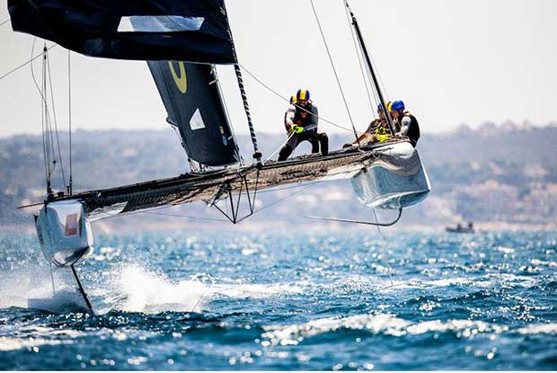 Powered up and fully trucking on board Erik Maris' Zoulou on day 1 of the GC32 Racing Tour at the 37 Copa del Rey MAPFRE - photo © Sailing Energy / GC32 Racing Tour
