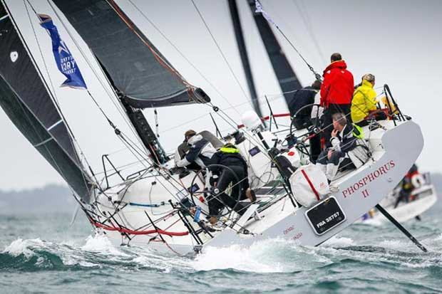 A battle in IRC between Giles Redpath's Pata Negra and Mark Emerson's A13 Phosphorus II © Paul Wyeth / RORC