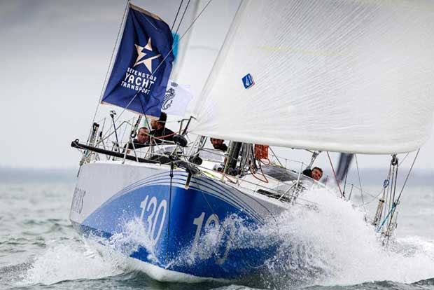 Phil Sharp's British Class40 Imerys Clean Energy got away well at the Sevenstar Round Britain and Ireland Race start ©Paul Wyeth / RORC