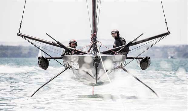 Ben Ainslie and Giles Scott sail T5 (surrogate Quant 28 mimicing the AC75) in the Solent © HARRY KH / INEOS TEAM UK